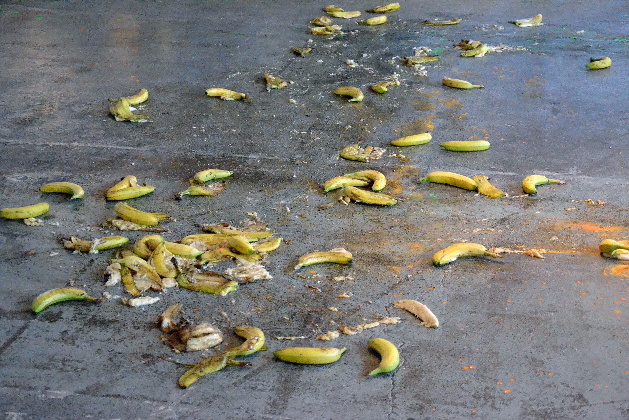 Loads of bananas squashed on the floor, slippery, cartoony